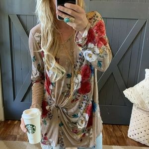 New PLUS SIZE Floral Front Tie Long Sleeve Blouse